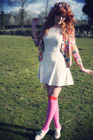 cream asos dress - coral River Island blazer - hot pink asos socks