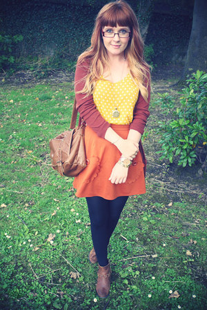 brick red Peacocks skirt - tawny M&S boots - gold H&M vest