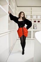 red Atmosphere skirt - black Home made top
