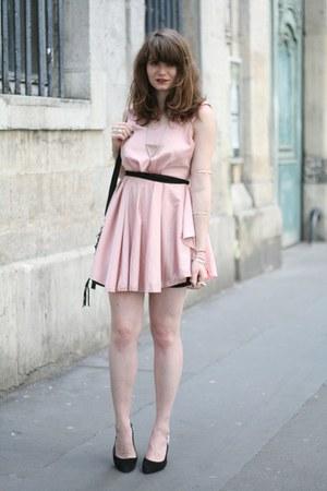 light pink romwe dress - black milanoo bag