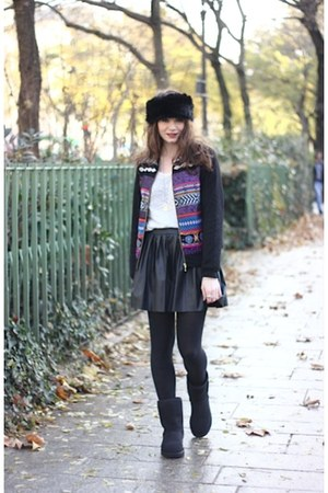 black Ugg boots - blue Derhy jacket - black PERSUNMALL skirt