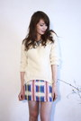 White-persunmall-sweater-blue-derhy-skirt