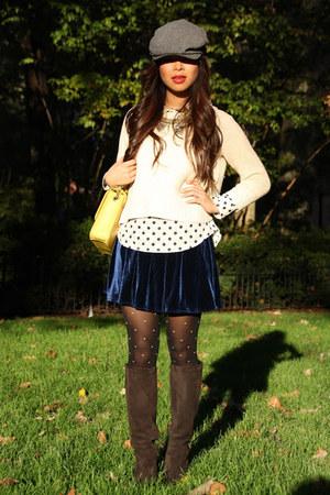 American Apparel skirt - YSL boots - JCrew hat - Zara sweater - H&M tights