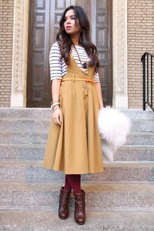 vintage vest - Nine West boots - H&M tights - Forever 21 jumper - Forever 21 top