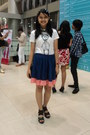 Ivory-shirt-bubble-gum-wedges-blue-skirt-black-ring