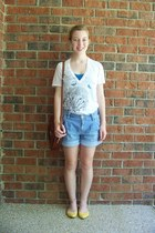 blue denim Gap shorts - dark brown vintage bag - blue Nollie top