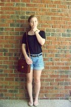 black Walmart top - dark brown vintage bag - blue denim Gap shorts