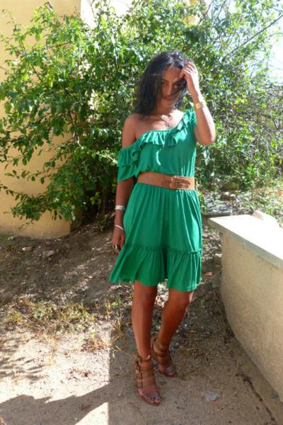 green mango dresses brown leather vintage belts brown