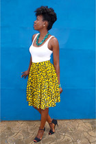 yellow vine afro print self-made skirt - turquoise blue custom made accessories