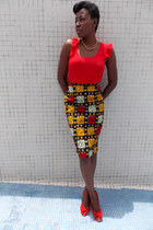 gold self-made skirt - red Vero Moda blouse