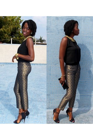 gold Zara pants - black self-made blouse - black suede Zara heels