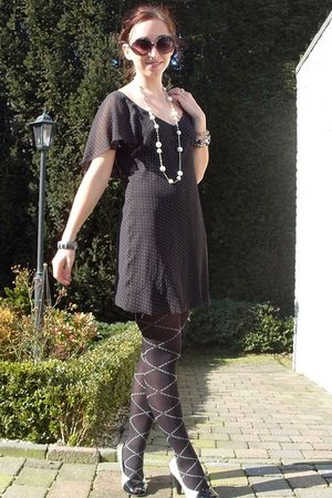 black vintage dress - black Wolford tights - black mim shoes