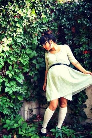 chartreuse Lux dress - white Forever 21 socks - black vintage pumps