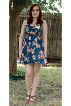 blue modcloth dress - brown Pierre Dumas shoes - brown Forever 21 belt