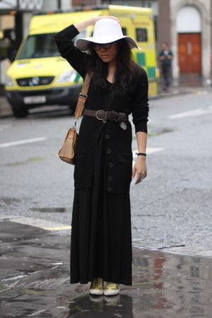 black united arrows dress - black Primark cardigan - yellow DKNY shoes - yellow