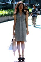 gray Rogan dress - black anteprima shoes - pink Miu Miu bag