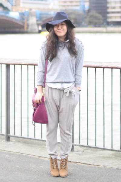 camel ankle wedge Zara boots - navy fedora asos hat - heather gray H&M sweater -