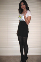 white Nollie t-shirt - black H&M skirt - black Target tights - black Jessica Sim