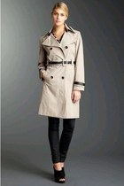 black leather cynthia rowley shoes - beige trench coat calvin klein coat