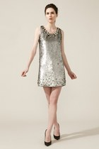 silver metallic RED valentino dress