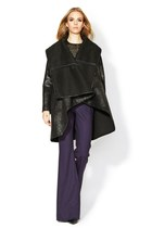 black leather wool catherine malandrino coat