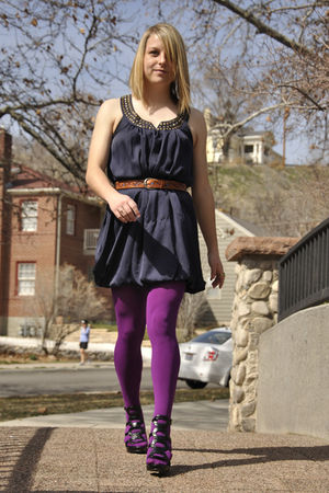 blue Forever 21 dress - brown vintage belt - purple We Love Colors tights - blac