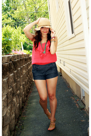 beige Forever 21 hat - turquoise blue BP Nordstrom necklace - red BP Nordstrom t