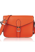 Leather Mini Satchel 10&quot; Crossbody Bag-Orange