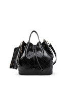 Black Quilted Drawstring Duffle Bag Shoulder Handbag Crossbody Bag