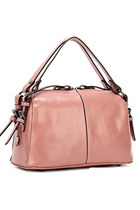Leather Top Zip Tote Shoulder Bag with Detachable Crossbody Strap