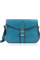 Leather Mini Satchel 10&quot; Crossbody Bag-Blue
