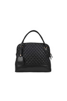 Black Quilted Tote Shoulder Handbag