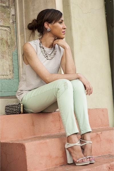 mint Zara pants - metallic Topshop top
