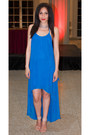 Blue-chiffon-cache-dress-tan-studded-steve-madden-heels
