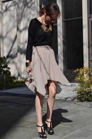 asymmetric Urban Outfitters skirt - H&amp;M sweater - Aldo heels