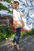 leopard Steve Madden heels - Zara jeans - beige suede Zara bag