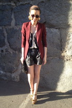 Zara blazer - leather Club Monaco shorts - leopard Steve Madden heels
