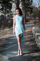 light blue cotton Missguided dress - tan Steve Madden heels