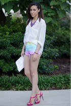 rainbow Unify via Nasty Gal shorts - white sheer American Apparel shirt