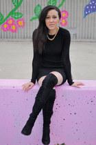 black Aldo boots - black Zara dress