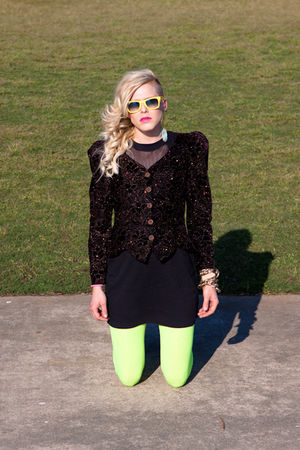 green Walmart tights - black vintage dress - gold accessories - black Cachet bla