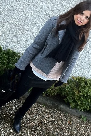 leather Mango boots - grey Paul &amp; Joe Sister jacket - black Zara scarf