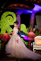 bubble gum custom made wedding gown dress