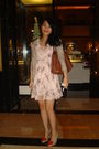 Pink-topshop-dress-brown-dorothy-perkins-cardigan-brown-gucci-accessories