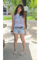 light purple crop top Topshop top - periwinkle shorts