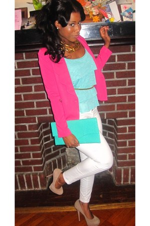 pink blazer - mint grean bag - steve madden pumps