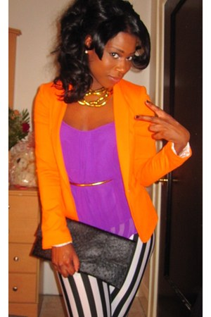 orange Zara blazer - ishopjnjcom tights - black Urban Expressions bag