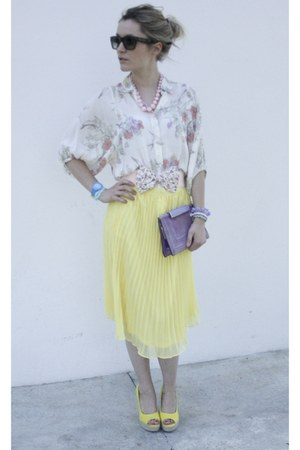 Forever21 skirt - Celine sunglasses - new look blouse - Forever21 necklace