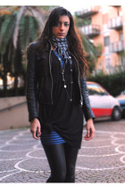 black Bata blazer - black Bershka dress - heather gray Bershka scarf - blue Jenn