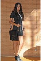black H&M dress - silver brooks tie - black leather handmade bag - black Stradiv